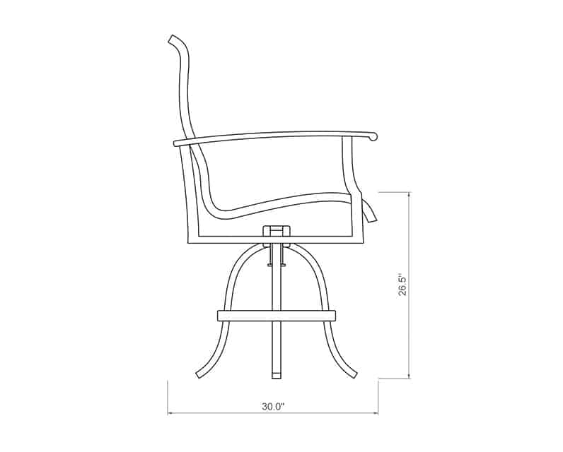 Newport Sling Swivel Balcony Barstool | Side Product Dimensions | Paddy O' Furniture