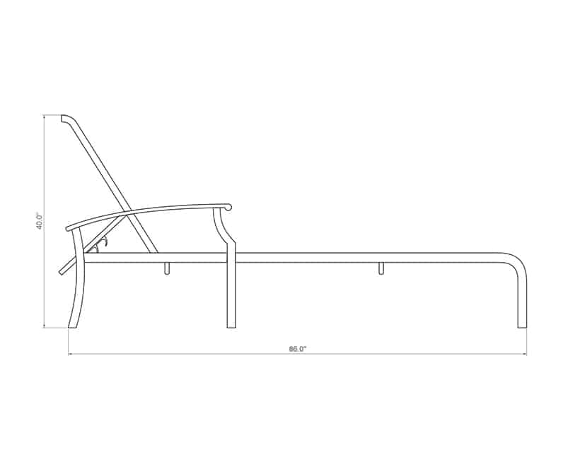 Newport Sling Chaise | Side Product Dimensions | Paddy O' Furniture
