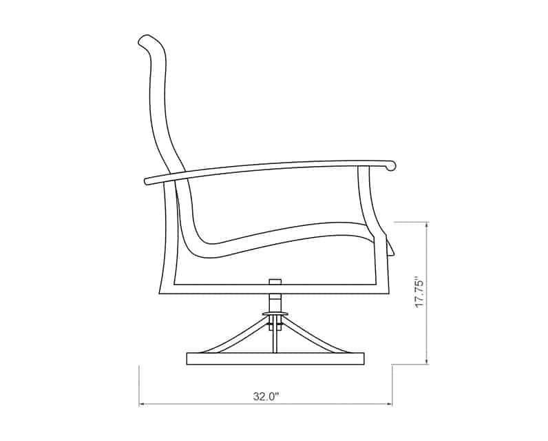 Newport Woven Swivel Dining Chair | Side Product Dimensions | Paddy O' Furniture