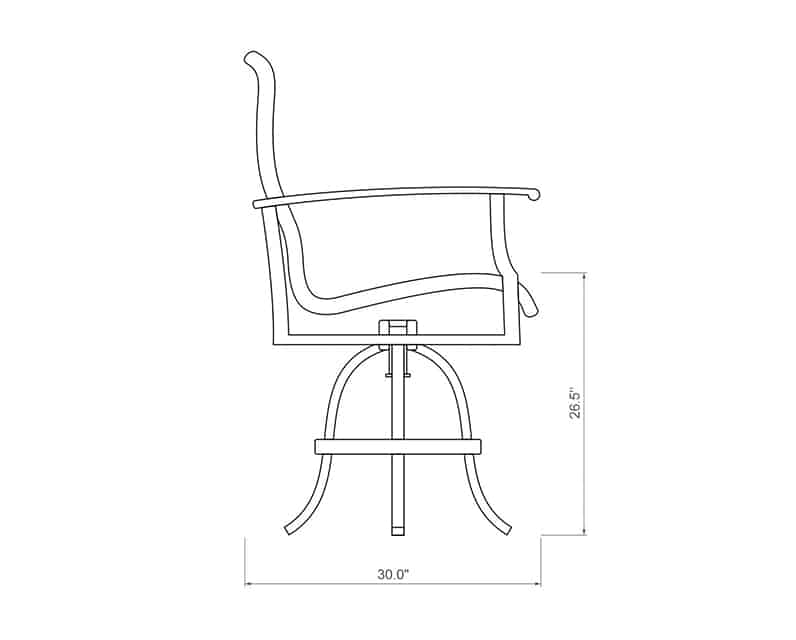 Newport Woven Swivel Balcony Barstool | Side Product Dimensions | Paddy O' Furniture