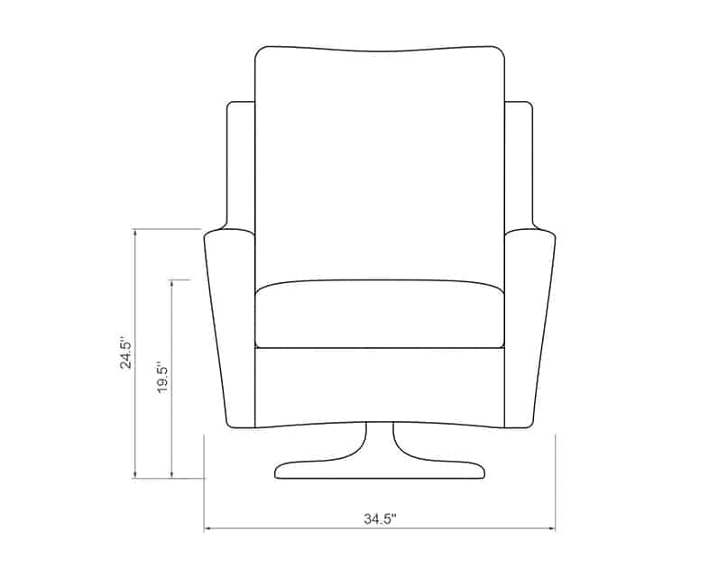Palmetto Club Swivel Glider | Front Product Dimensions | Paddy O' Furniture