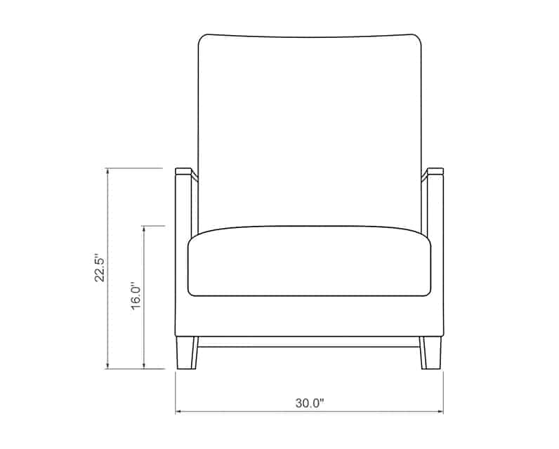 Polynesia Club Chair | Front Product Dimensions | Paddy O' Furniture