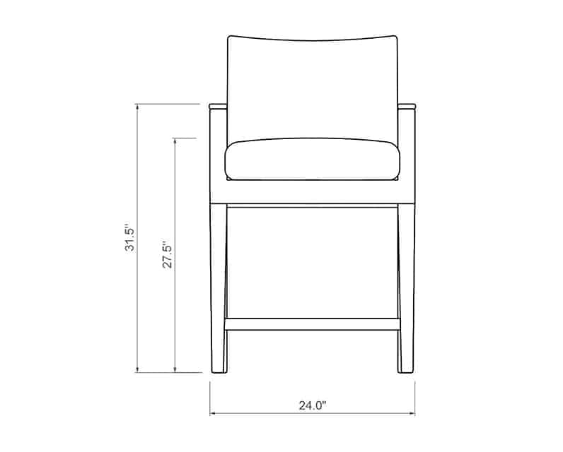 Polynesia Balcony Chair | Front Product Dimensions | Paddy O' Furniture