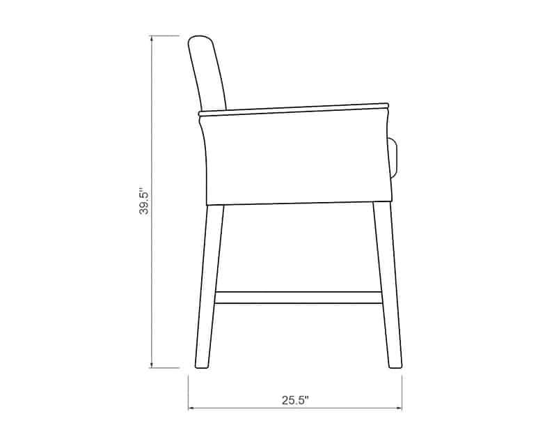 Polynesia Balcony Chair | Side Product Dimensions | Paddy O' Furniture