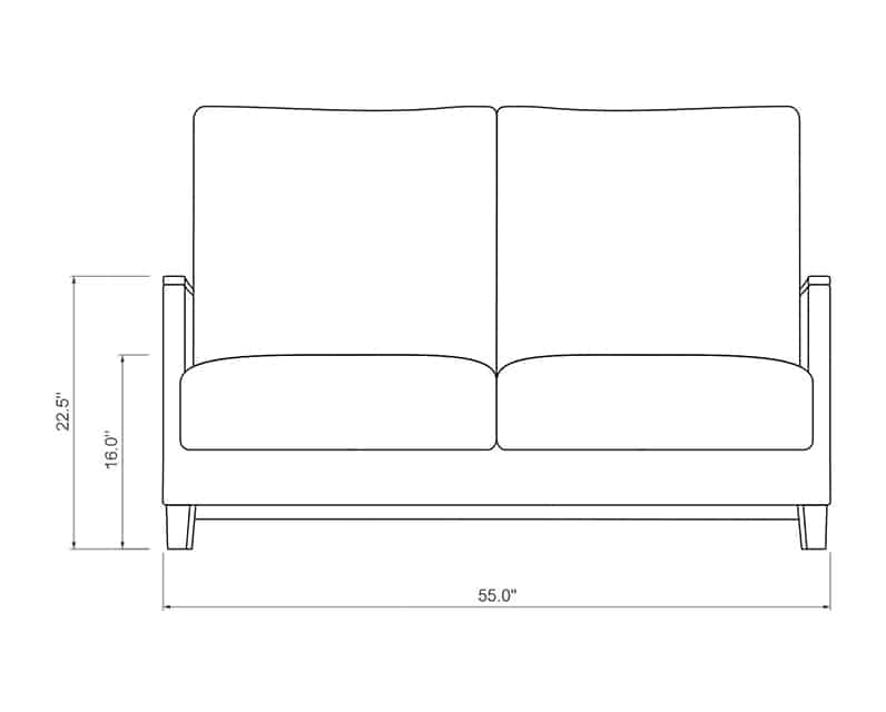 Polynesia Loveseat | Front Product Dimensions | Paddy O' Furniture