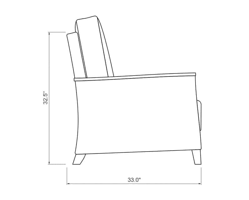 Polynesia Loveseat | Side Product Dimensions | Paddy O' Furniture
