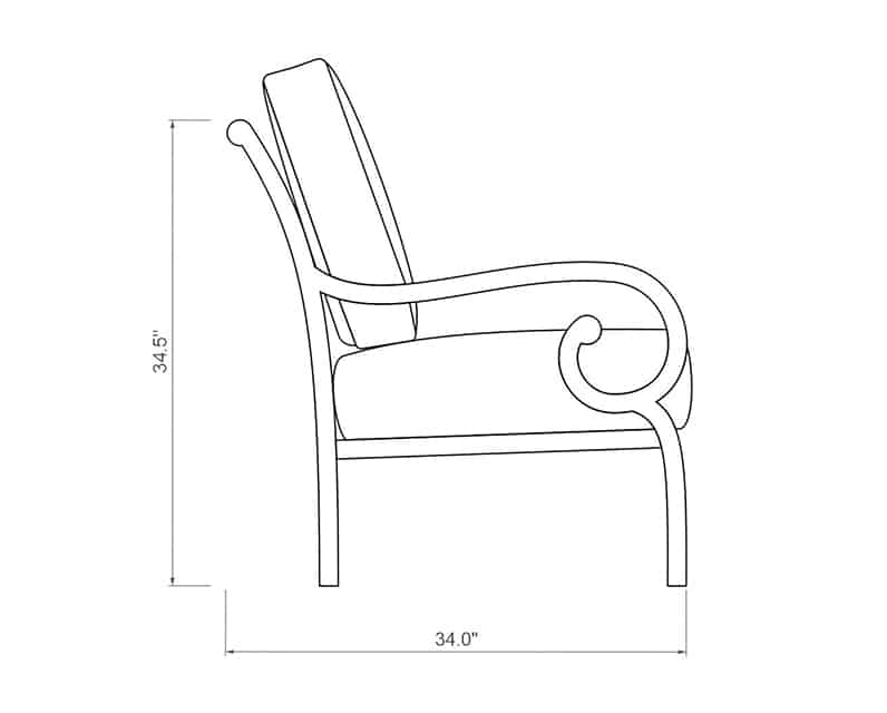 Rancho Club Chair | Side Product Dimensions | Paddy O' Furniture