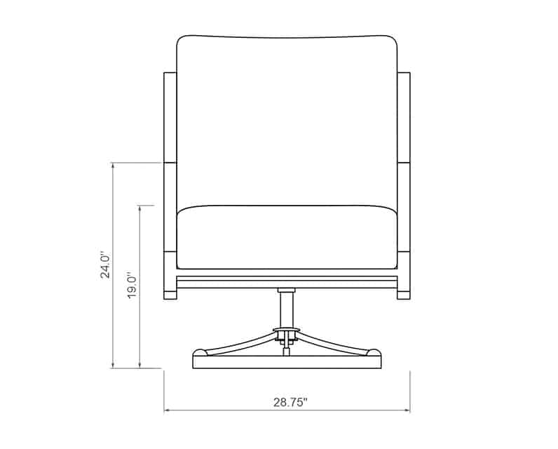Rancho Club Swivel Rocker | Front Product Dimensions | Paddy O' Furniture