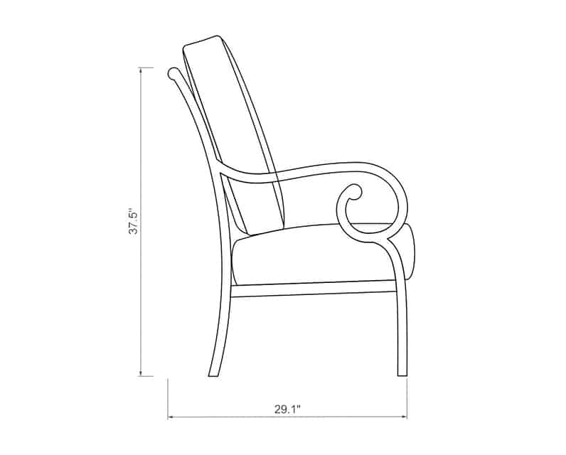 Rancho Dining Chair | Side Product Dimensions | Paddy O' Furniture