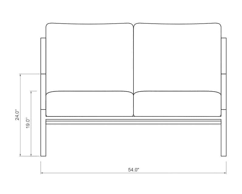 Rancho Loveseat | Front Product Dimensions | Paddy O' Furniture