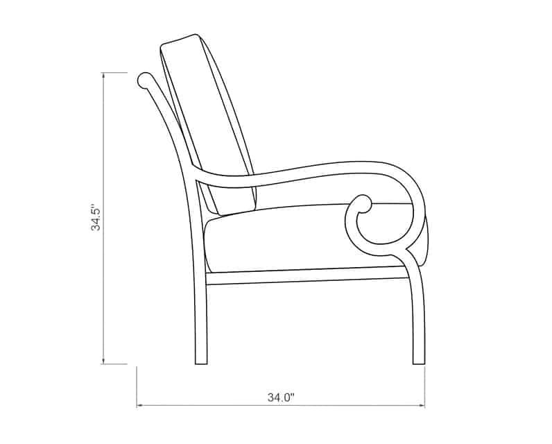 Rancho Sofa | Side Product Dimensions | Paddy O' Furniture
