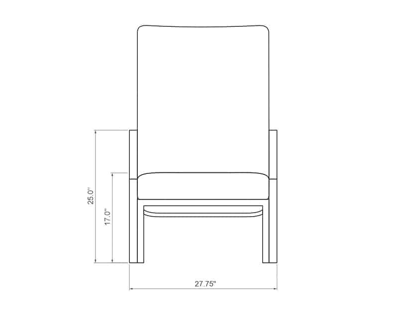 Rancho Chaise Lounge | Front Product Dimensions | Paddy O' Furniture