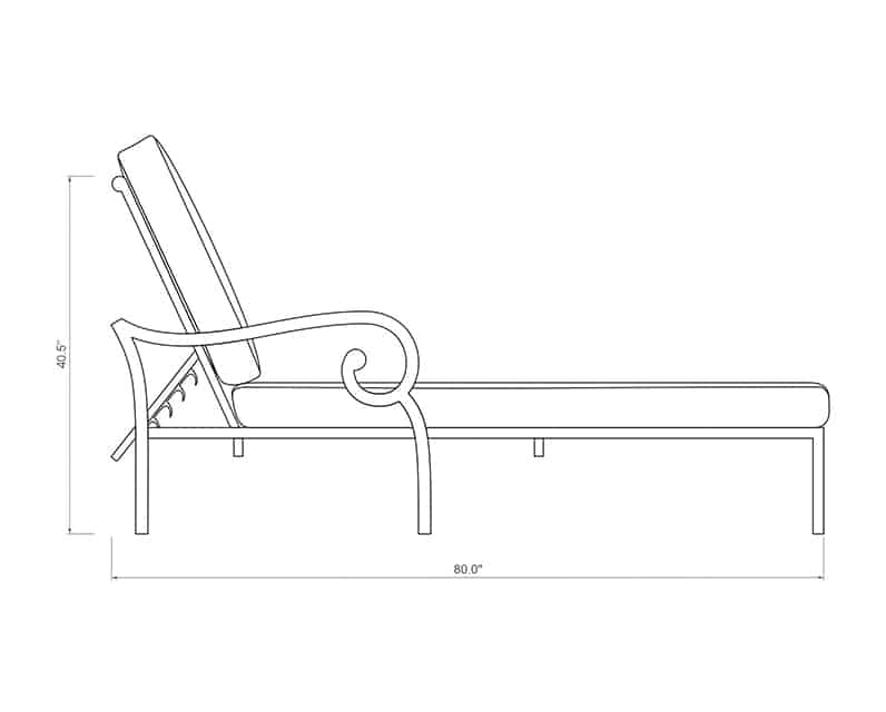 Rancho Chaise Lounge | Side Product Dimensions | Paddy O' Furniture