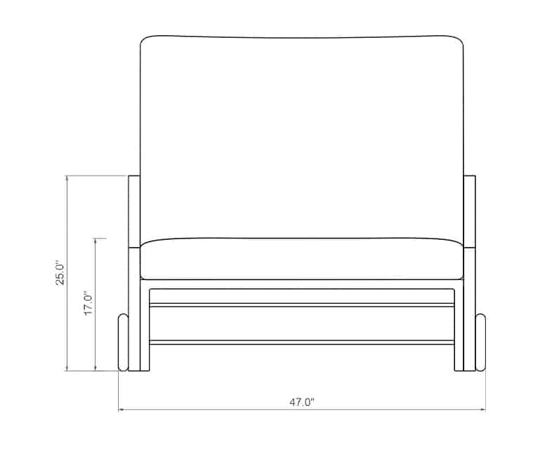 Rancho Cuddle Chaise | Front Product Dimensions | Paddy O' Furniture