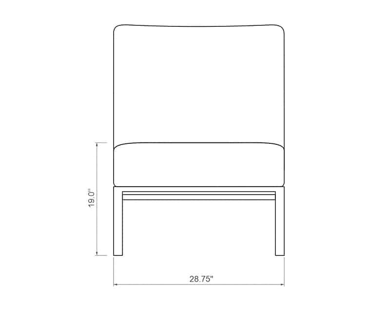 Rancho Sectional Armless | Front Product Dimensions | Paddy O' Furniture