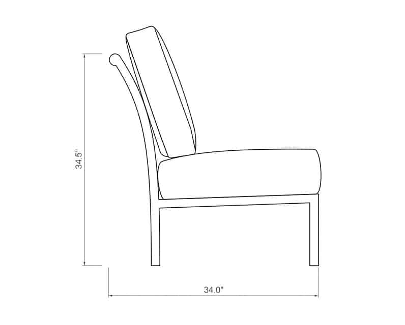 Rancho Sectional Armless | Side Product Dimensions | Paddy O' Furniture