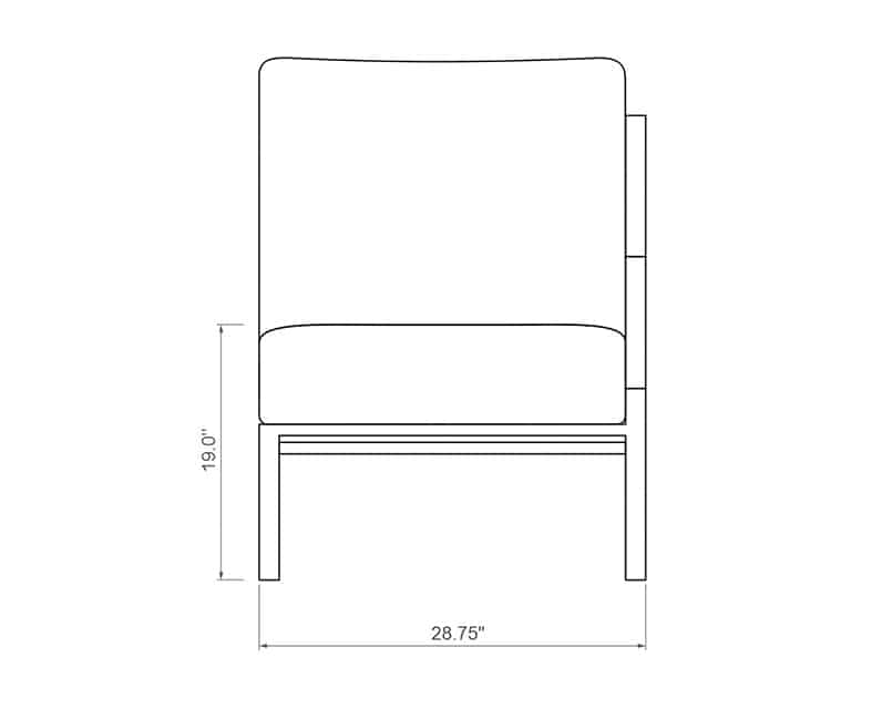 Rancho Sectional Left Arm | Front Product Dimensions | Paddy O' Furniture