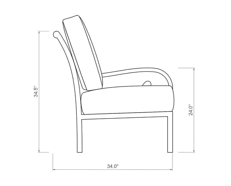 Rancho Sectional Left Arm | Side Product Dimensions | Paddy O' Furniture