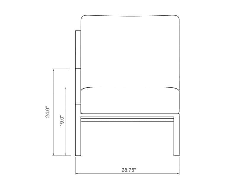 Rancho Sectional Right Arm | Front Product Dimensions | Paddy O' Furniture
