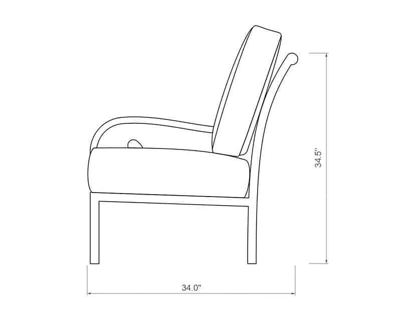 Rancho Sectional Right Arm | Side Product Dimensions | Paddy O' Furniture