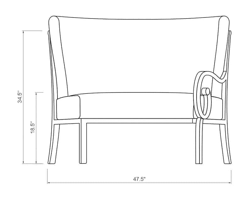 Rancho Curved Left Arm   Front Product Dimensions   Paddy O' Furniture