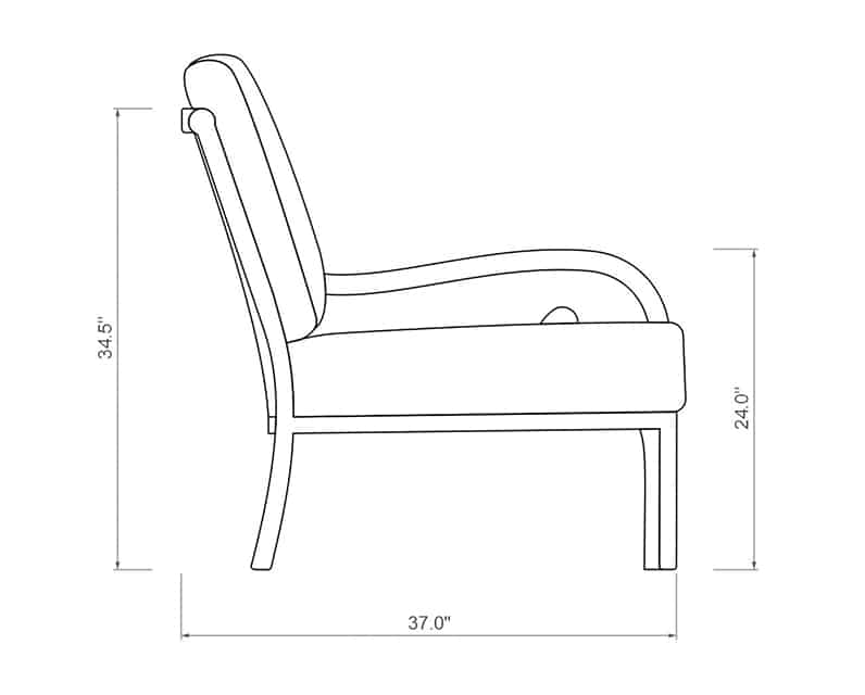 Rancho Curved Left Arm | Side Product Dimensions | Paddy O' Furniture
