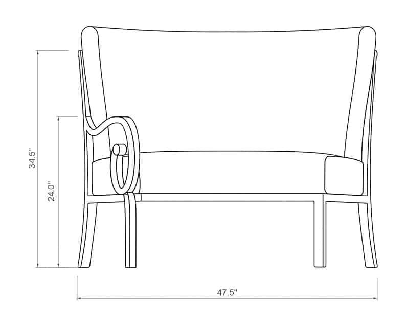 Rancho Curved Right Arm | Front Product Dimensions | Paddy O' Furniture