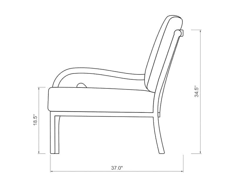 Rancho Curved Right Arm | Side Product Dimensions | Paddy O' Furniture