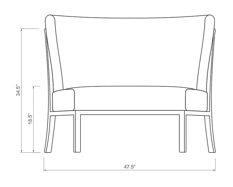 Rancho Curved Armless | Front Product Dimensions | Paddy O' Furniture