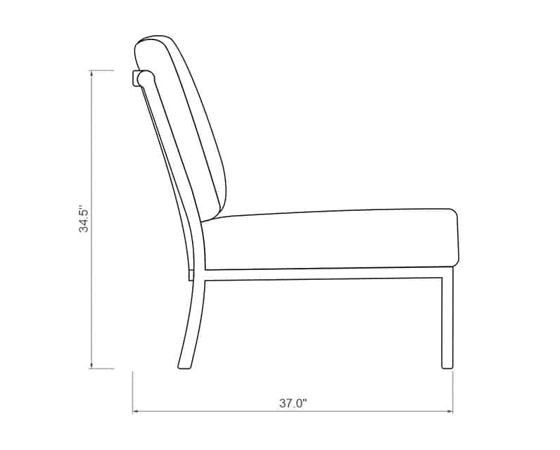 Rancho Curved Armless | Side Product Dimensions | Paddy O' Furniture