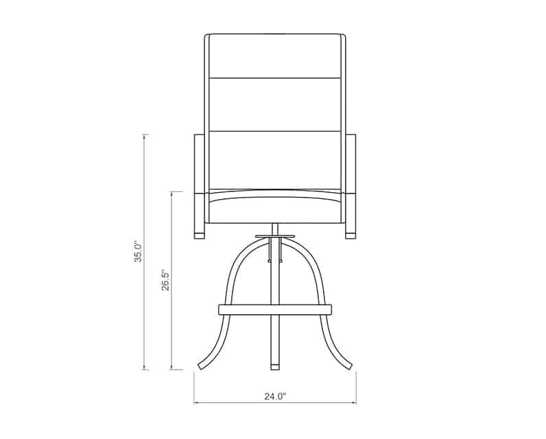 Rancho Padded Sling Swivel Balcony Barstool | Front Product Dimensions | Paddy O' Furniture