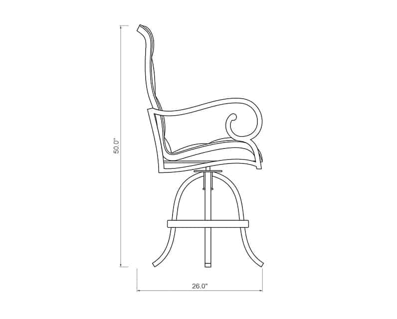 Rancho Padded Sling Swivel Balcony Barstool | Side Product Dimensions | Paddy O' Furniture