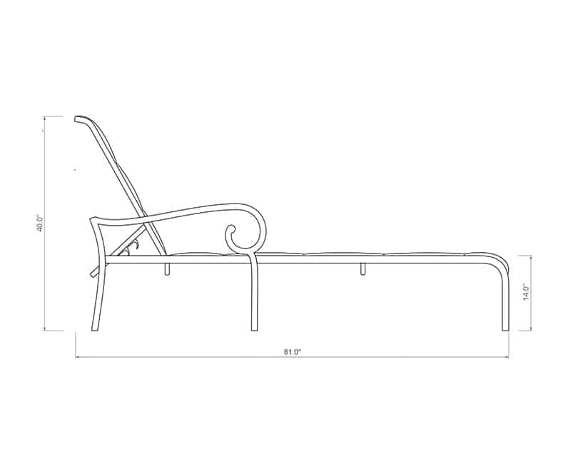 Rancho Padded Sling Chaise Lounge | Side Product Dimensions | Paddy O' Furniture