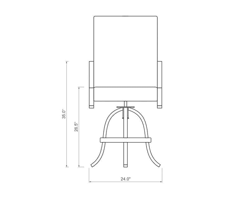 Rancho Sling Swivel Balcony Barstool | Front Product Dimensions | Paddy O' Furniture