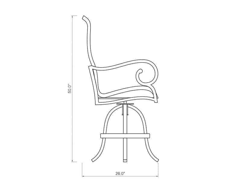 Rancho Sling Swivel Balcony Barstool | Side Product Dimensions | Paddy O' Furniture