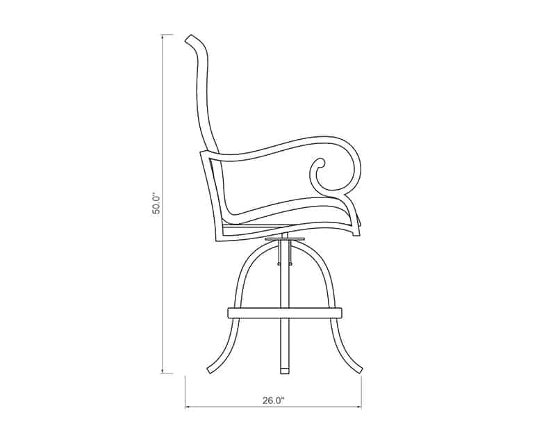 Rancho Woven Swivel Balcony Barstool | Side Product Dimensions | Paddy O' Furniture