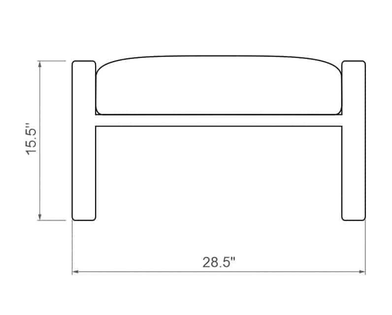 Seville Ottoman | Front Product Dimensions | Paddy O' Furniture