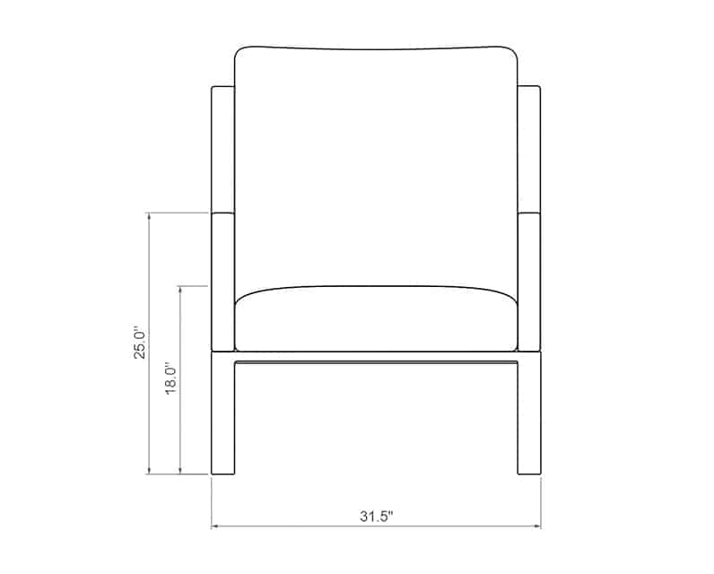 Seville Club Chair | Front Product Dimensions | Paddy O' Furniture