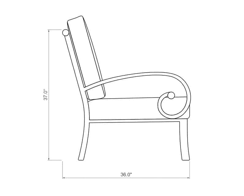 Seville Club Chair | Side Product Dimensions | Paddy O' Furniture