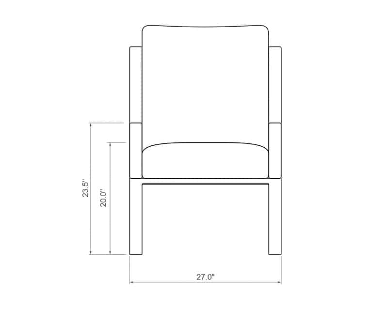 Seville Dining Chair | Front Product Dimensions | Paddy O' Furniture