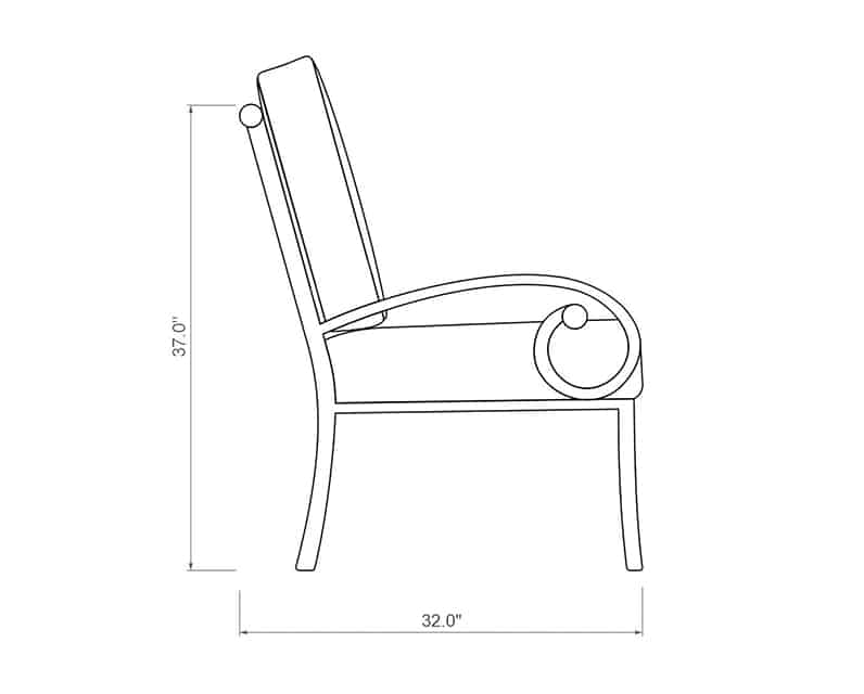 Seville Dining Chair | Side Product Dimensions | Paddy O' Furniture