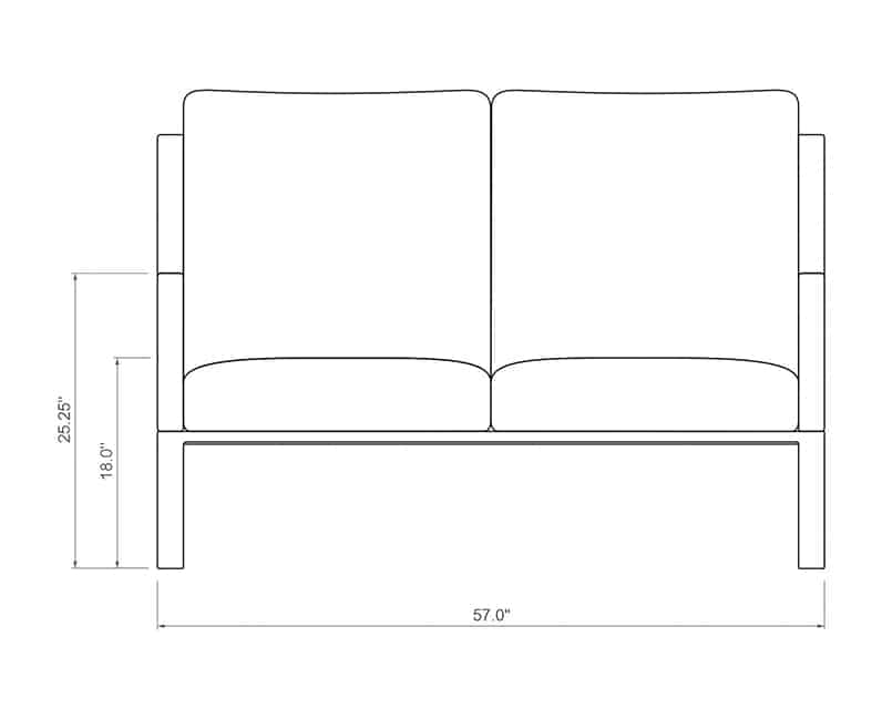 Seville Loveseat | Front Product Dimensions | Paddy O' Furniture