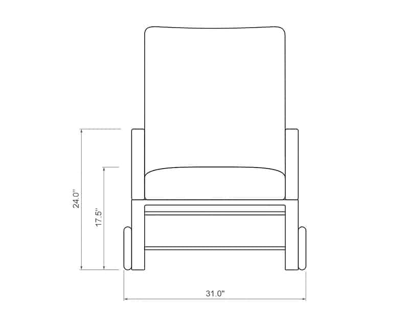 Seville Chaise Lounge | Front Product Dimensions | Paddy O' Furniture