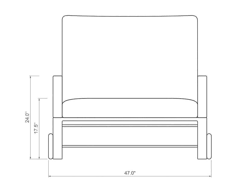 | Front Product Dimensions | Paddy O' Furniture