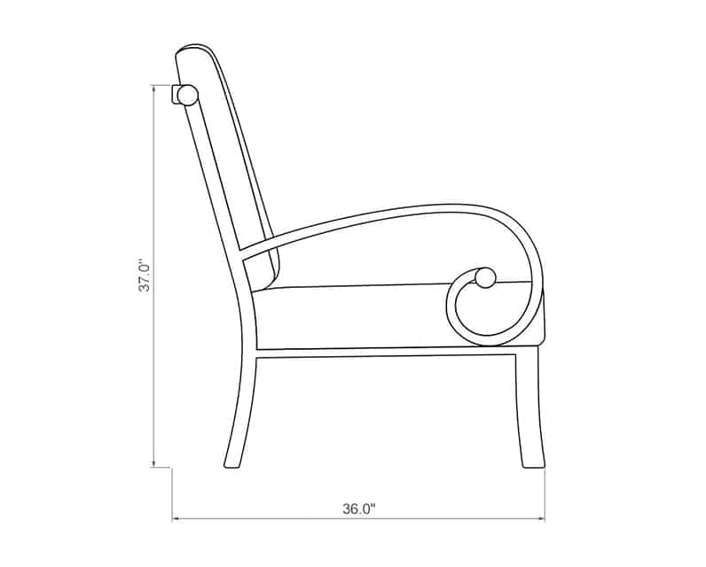Seville Curved Left Arm | Side Product Dimensions | Paddy O' Furniture