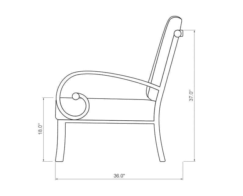 Seville Curved Right Arm | Side Product Dimensions | Paddy O' Furniture