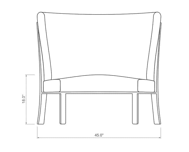 Seville Curved Armless | Front Product Dimensions | Paddy O' Furniture