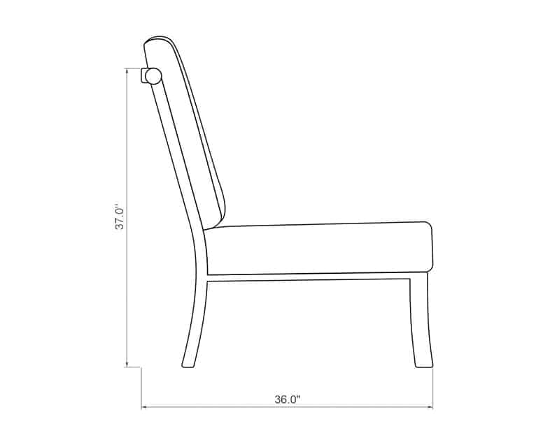 Seville Curved Armless | Side Product Dimensions | Paddy O' Furniture