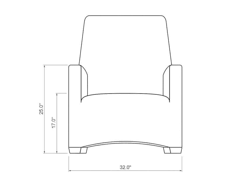 Ventana QDF Club Chair | Front Product Dimensions | Paddy O' Furniture