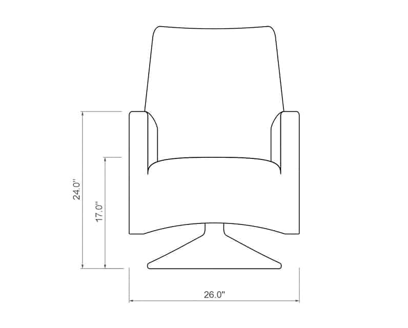 Ventana QDF Dining Swivel Rocker | Front Product Dimensions | Paddy O' Furniture